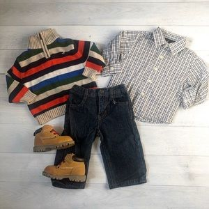 Nautica Striped Sweater and Plaid Outfit